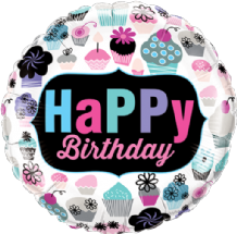 "Birthday Cupcakes Emblem Foil Balloon (18"") 1pc"